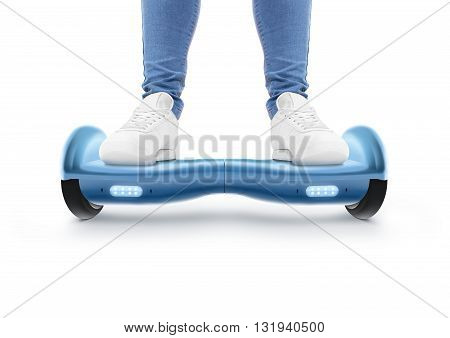 Man stand on blue hyro scooter isolated on white. Smart hover board scoter. Two wheel transport device. Electriic hyroscooter driver. Person hoverboard transportation. Driving giroscooter. Hyroscooter poster