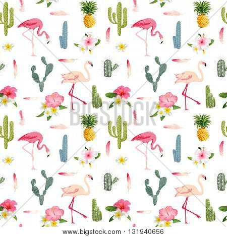 Tropical Background. Flamingo Bird. Cactus Background. Tropical Flowers. Seamless Pattern. Vector