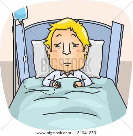 Illustration of a Sick Man Lying on Bed with IV Therapy