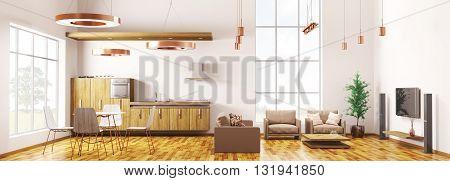 Modern Loft Apartment Interior Panorama 3D Rendering