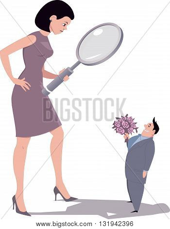 Picky woman looking at a potential boyfriend through a magnifying glass