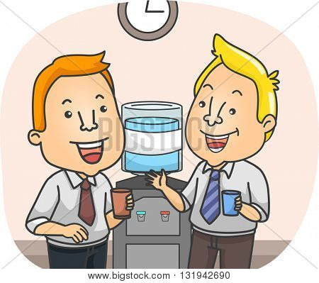 Illustration of Officemates Chatting by the Water Cooler