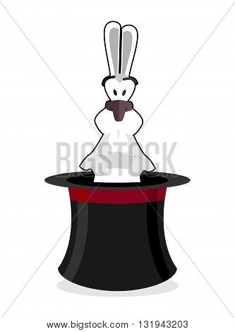 Rabbit In Hat. Accessory Magician. White Rabbit In Magic Cap. Focus Cylinder Isolated On White Backg