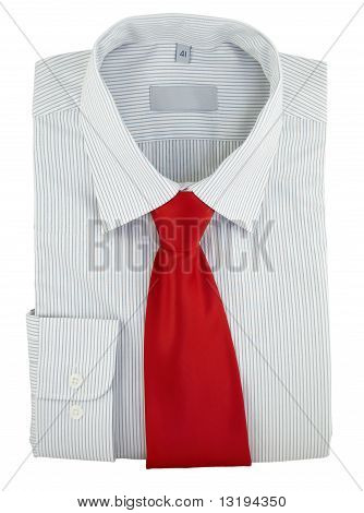 Striped Shirt With Red Silk Necktie On A White