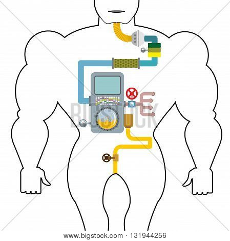 Artificial digestive tract. Digestion person. Throat and stomach. Pipes and tanks. Gates and devices. processing system. Treatment mechanism. Valves and pipes. Sensors and tank. Device with screen and tubes