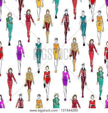 Seamless fashion models pattern for fashion theme or scrapbook page backdrop design with sketch silhouettes of women in elegant business attire, cocktail dresses and modern casual everyday clothes on white background