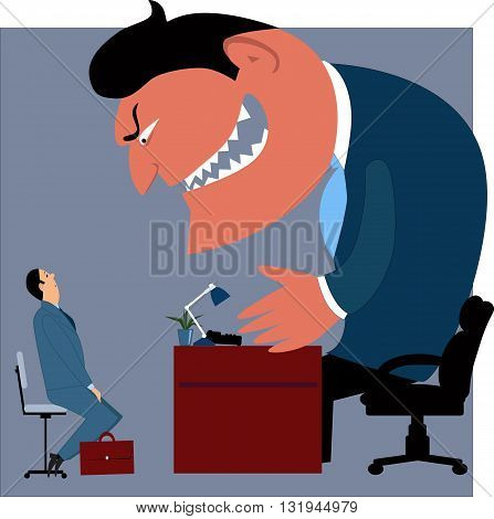 Job interview. Intimidated candidate talking mo a monster boss, vector illustration