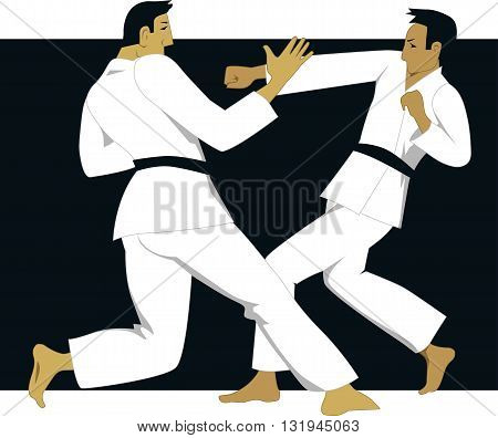 Jujutsy sparring. Two male martial artists fight in a practice session on a black background.
