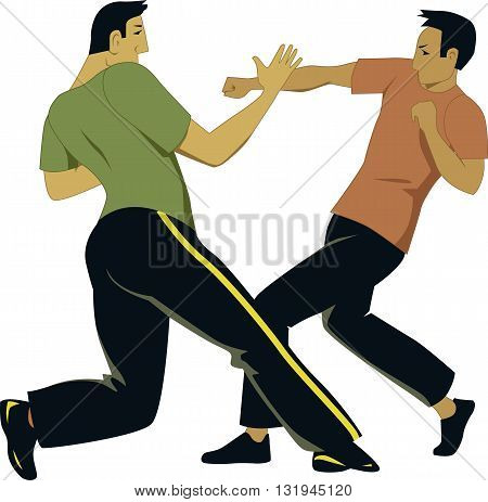 Self-defense sparring. Two male martial artists fight in a practice session.