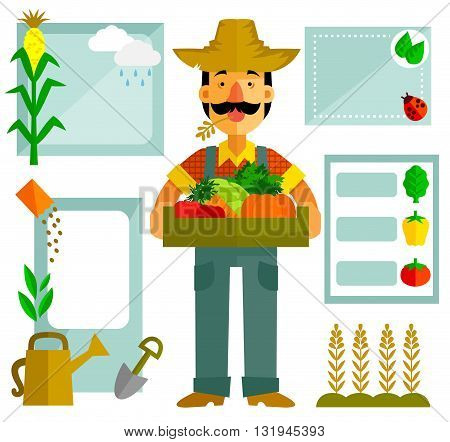farmer with vegetables and a set of related icons