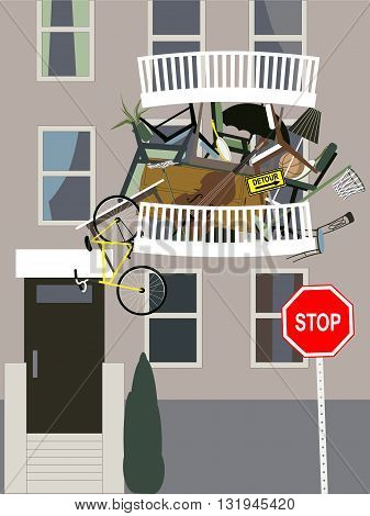 Hoarder. A balcony in an apartment building overflown with clutter