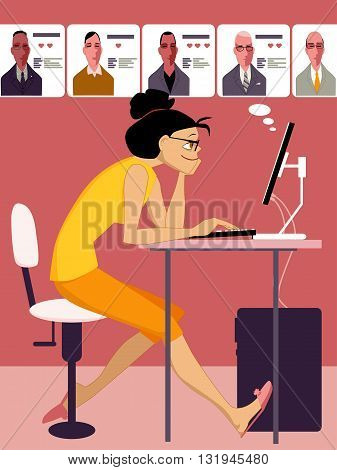 Woman browsing through profiles of men on an internet dating site, vector cartoon, no transparencies