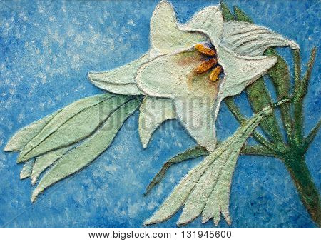 amazing big lily relief original oil painting on canvas, piece of art gallery collection,