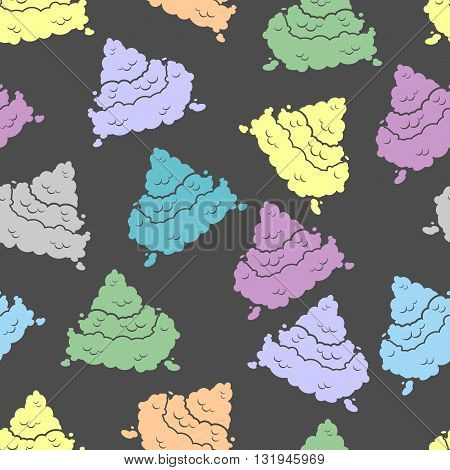 Colorful Seamless Pattern Shit. Piece Of Poop Ornament. Multicolored Texture Turd. Background Of Sti