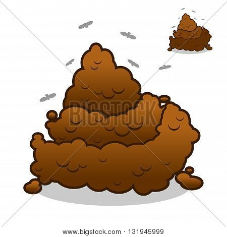 Shit And Flies. Poop. Pile Of Crap On White Background. Turd Isolated. Brown Excrement. Smelly Dog 