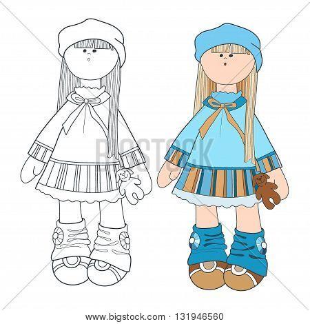 little girl in blue dress. vector illustration. girl