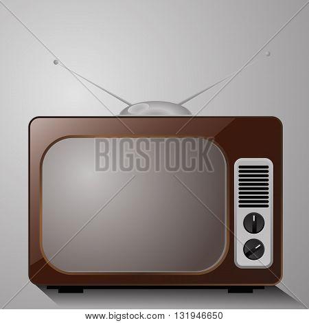 Retro TV in the wooden case vector eps 10