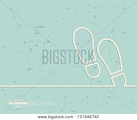 Creative vector footprint. Art illustration template background. For presentation, layout, brochure, logo, page, print, banner, poster, cover, booklet, business infographic, wallpaper, sign, flyer.