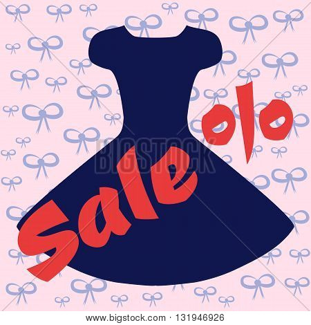 Template for advertising. Silhouette of a magnificent blue dress. Red text SALE and percent signs. Pink background with blue bows.