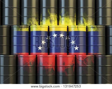 Oil fuel of Venezuela energy concept. Venezuelan flag painted on oil barrels. 3d illustration