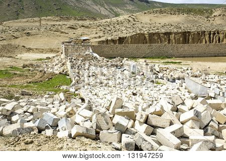 Destroyed building - rubble. Ruined destroyed house in Baku, Aerbaijan
