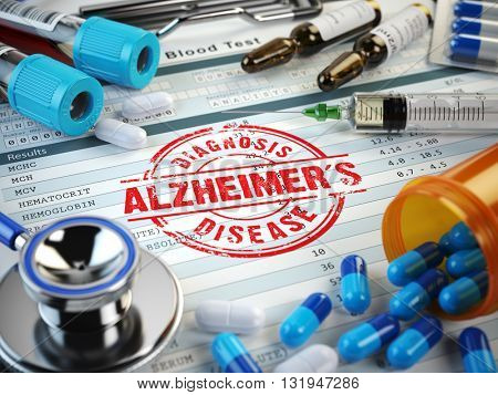 Alzheimers disease diagnosis. Stamp, stethoscope, syringe, blood test and pills on the clipboard with medical report. 3d illustration