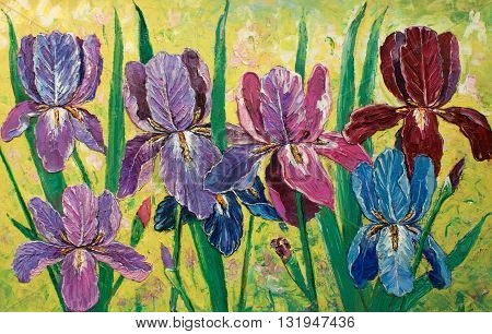 original oil painting impressionism on canvas, amazing floristry painting, flowers in garden original artwork,