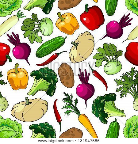 Bright background with seamless pattern of fresh picked broccoli and cabbages, cucumbers and potatoes, chili and bell peppers, beetroots and carrots, kohlrabies and daikon, squashes and celery vegetables