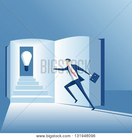 Business concept of knowledge and a new idea the employee runs up the stairs in the book to find an idea