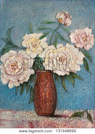 grandmas favorite flowers original oil painting impressionism on canvas