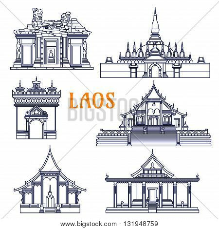 Popular laotian monument and buddhist golden stupa, wats and ancient khmer temple icon with gate of Triumph Patuxai and Pha That Luang, Wat Si Saket and Wat Phou, Wat Xieng Thong and Wat Sen Souk Haram. Thin line style