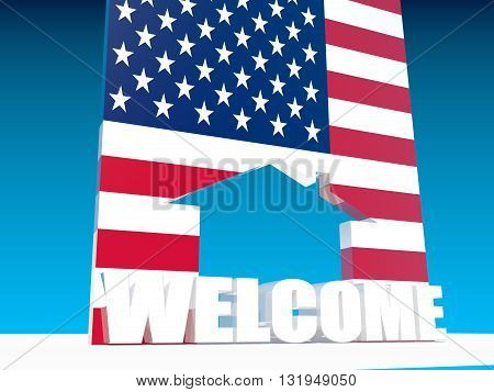 usa national flag textured home icon and welcome word