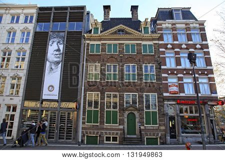 AMSTERDAM, NETHERLANDS - MAY 5, 2016: Rembrandt House Museum (Museum Het Rembrandthuis) entrance in Amsterdam, Netherlands. Rembrandt van Rijn is generally considered one of the greatest painters in European art