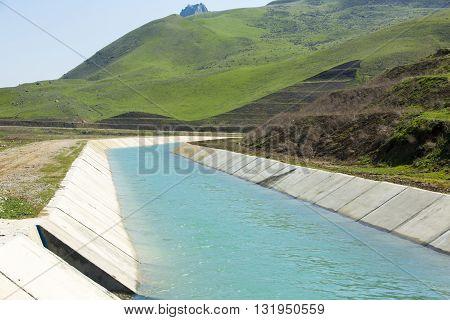 the mountain water channel in Shabran, Azerbaijan.