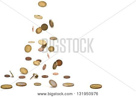 Euro coins isolated on the white background
