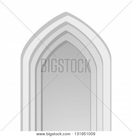 Eastern arc. Arc door. Arc window. Building decoration element. Vector isolated illustration