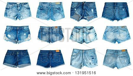 collection of different jeans shorts on a white background. front and back view .