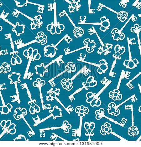 Ornamental ancient keys seamless pattern with white silhouettes of skeleton keys adorned by medieval victorian flourishes over pale blue background