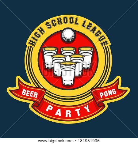 Beer pong party logo. Vector beer pong game label