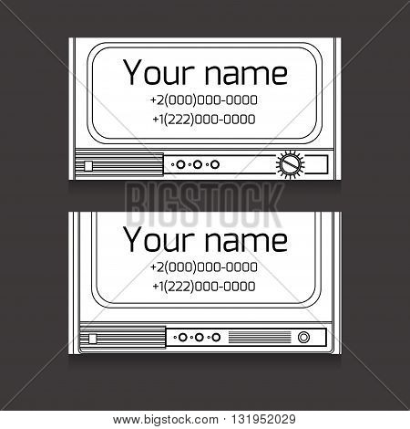 Set of black and white business card with old TV space for text for your business