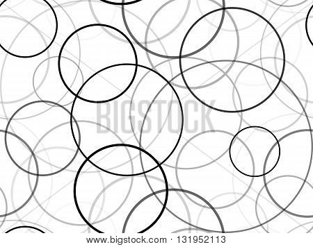 Seamless black and white texture with circles of different size and transparency. Vector background for your creativity