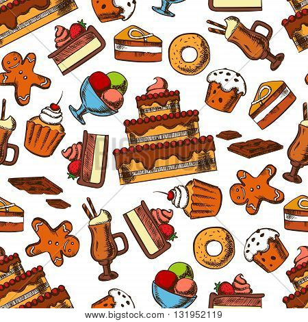 Chocolate treats seamless pattern background of delicious tiered cakes and cupcakes with fruits and cream, glazed raisin muffins and donuts, sundae ice cream and irish coffee, gingerbread men cookies and chocolate bars