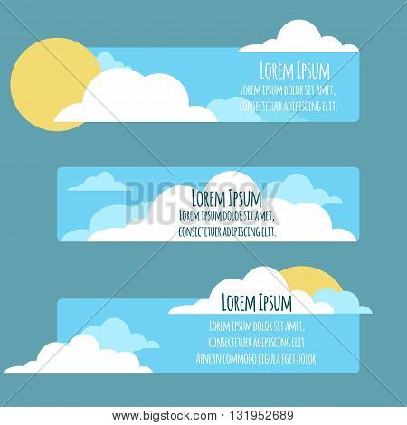 Set of flat banners with sky sun clouds and place for text. Vector element for your design