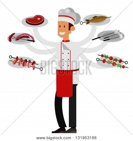 Different kind of meat on the grill with chef character. picnic or Bbq party. Food and barbeque, summer and grill. Vector barbeque party, illustration barbeque party