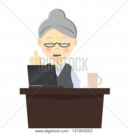 Illustration of granny working on her laptop