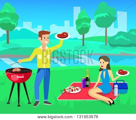 Vector character people on Family picnic or Bbq party. Chef men cooking steaks on grill. Food and barbeque, summer and grill. Vector barbeque party, illustration barbeque party on landscape