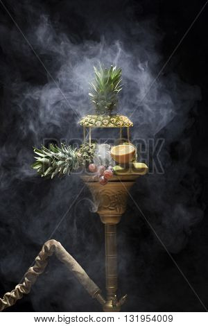 Exotic Hookah. Different Hookah Over The Bright Backgrounds With Smoke