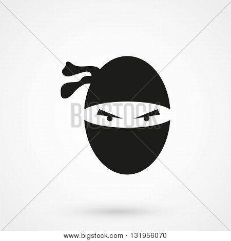 Ninja Icon Black Vector On White Background
