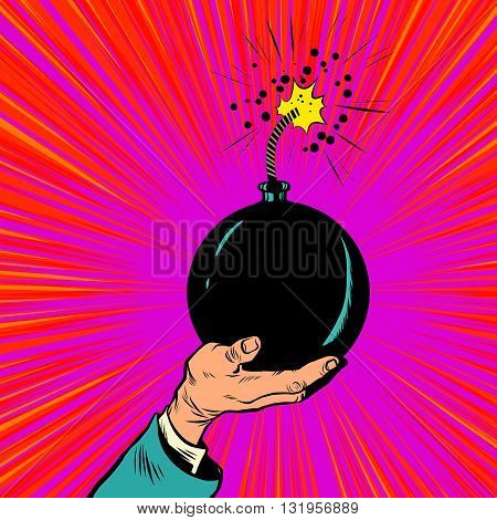 Bomb burning fuse war terrorism pop art retro vector. War and peace. Politics and terrorists. Bomb in hand