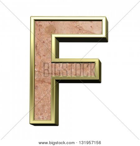 One letter from stone conglomerate with gold frame alphabet set isolated over white. 3D illustration.